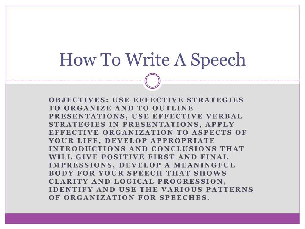 how to write your speech