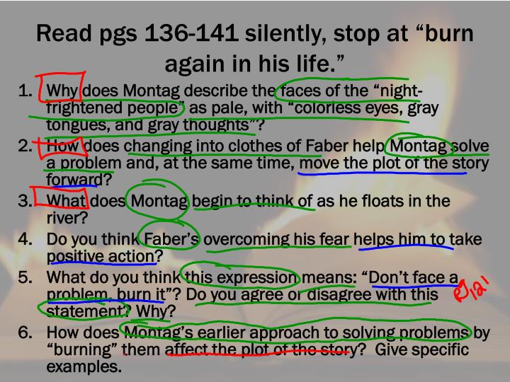 "Read pgs 136-141 silently, stop at ""burn again in his life."""