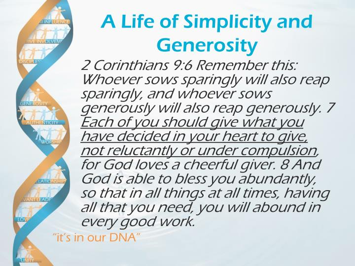 A Life of Simplicity and Generosity