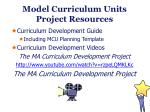model curriculum units project resources