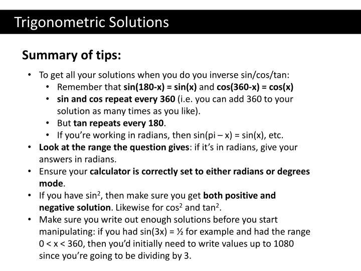 Trigonometric Solutions