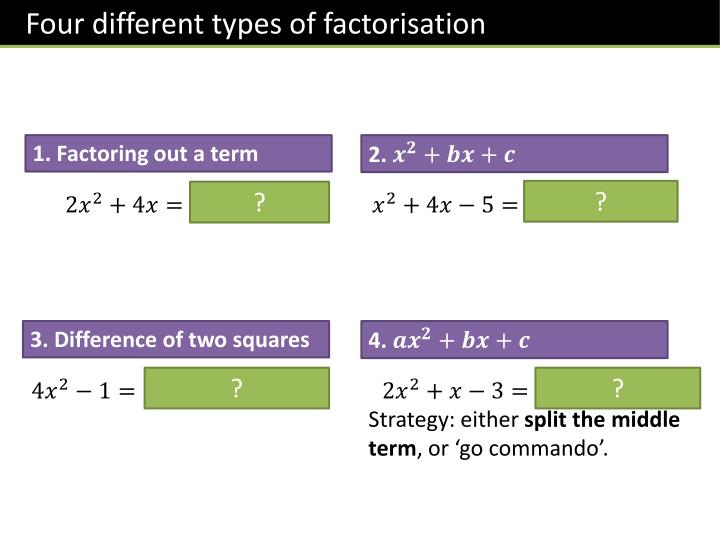 Four different types of factorisation