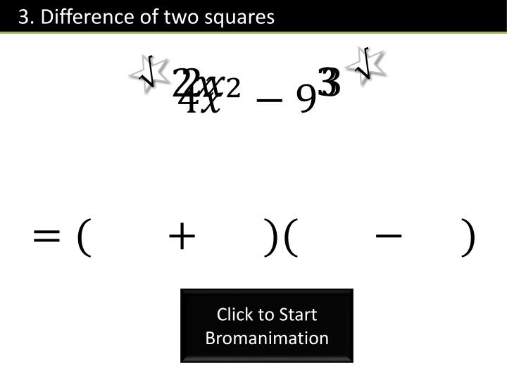 3. Difference of two squares