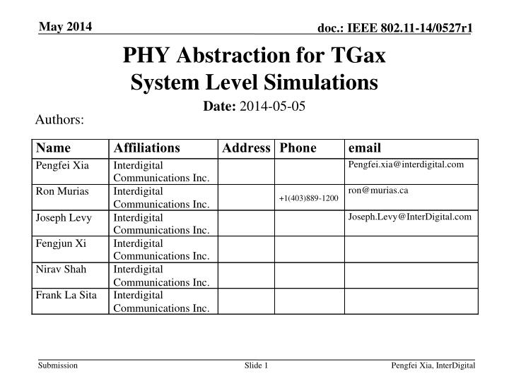 phy abstraction for tgax system level simulations n.