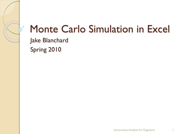 Ppt  Monte Carlo Simulation In Excel Powerpoint Presentation  Id