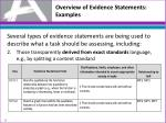 overview of evidence statements examples1