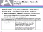 overview of evidence statements examples2