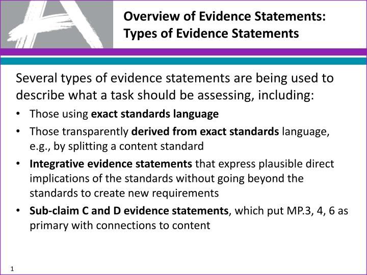 overview of evidence statements types of evidence statements n.