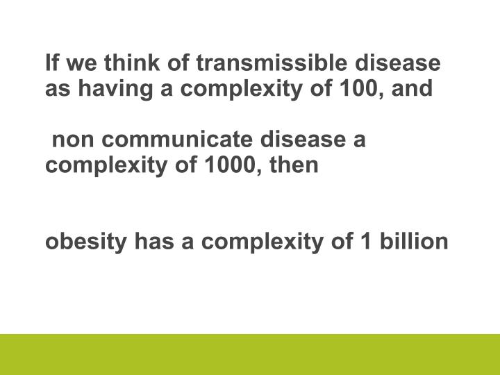 If we think of transmissible disease as having a complexity of 100, and