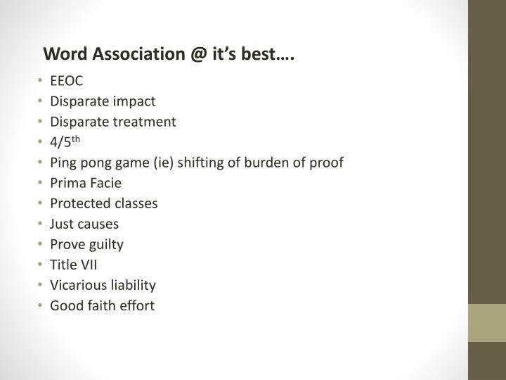 Word Association @ it's best….