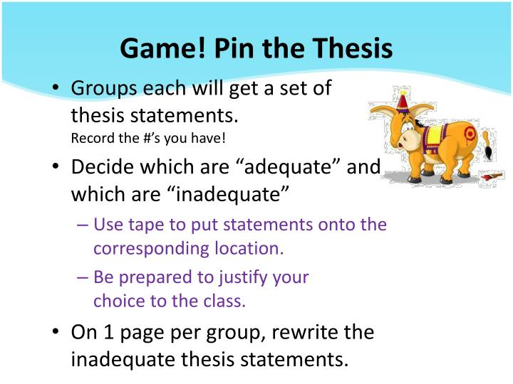 Game! Pin the Thesis