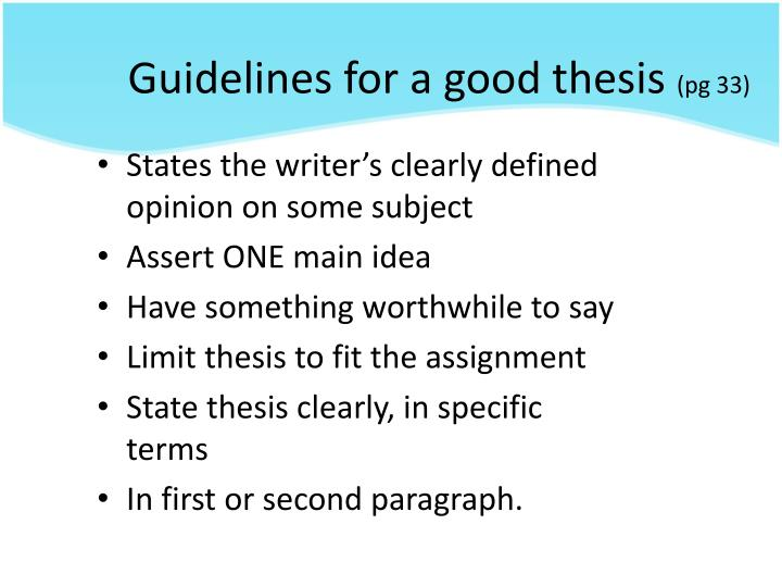Guidelines for a good thesis