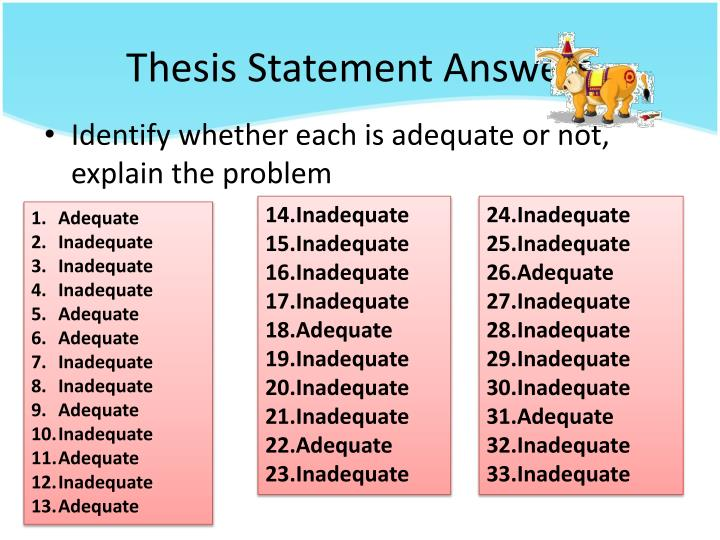 Thesis Statement Answers