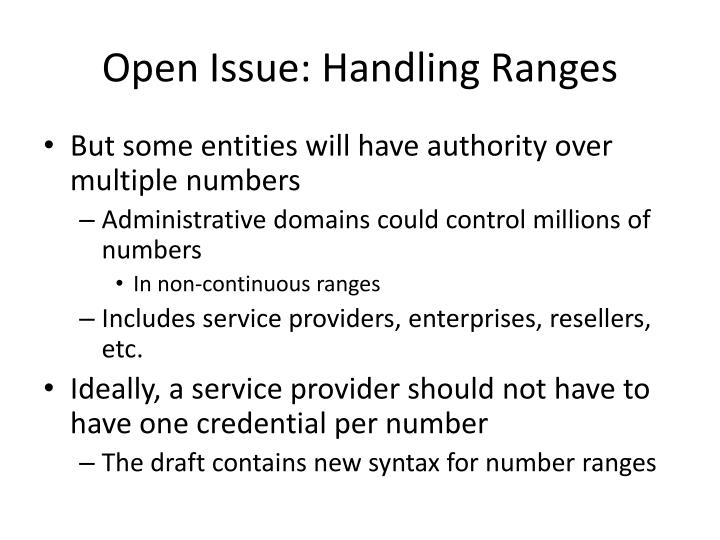 Open Issue: Handling Ranges