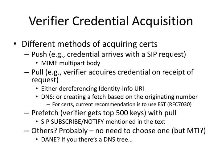 Verifier Credential Acquisition