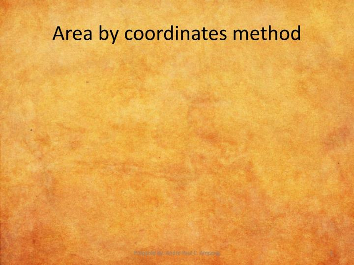 Area by coordinates method