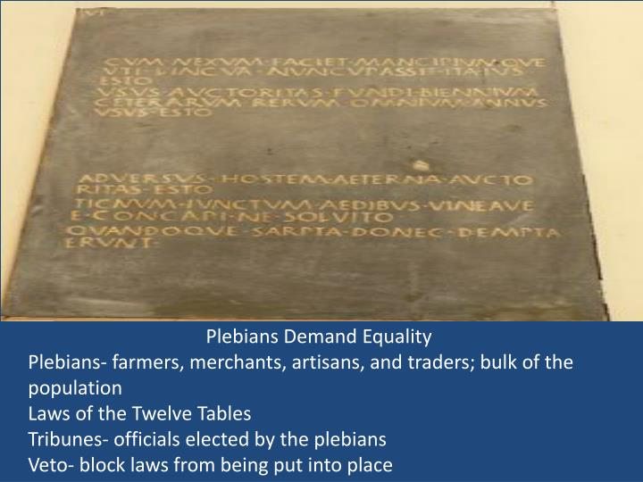 Plebians Demand Equality