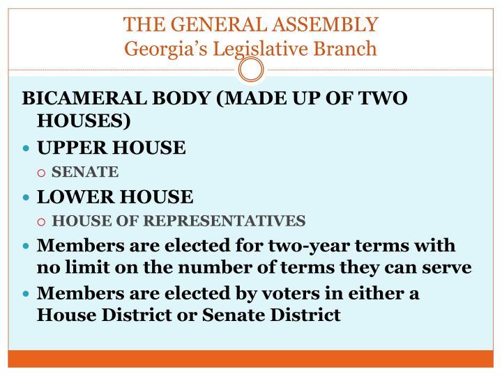 The general assembly georgia s legislative branch