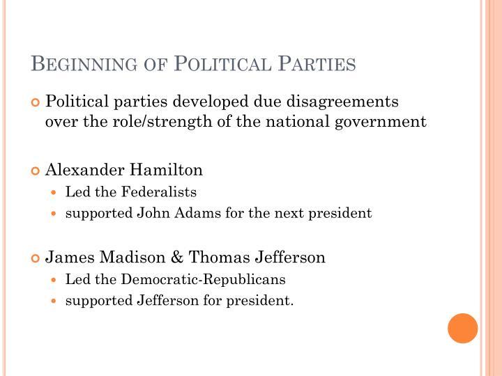Beginning of Political Parties