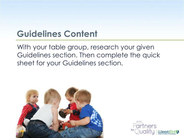 Guidelines Content