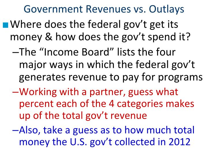 Government revenues vs outlays