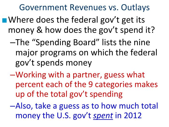 Government Revenues vs. Outlays