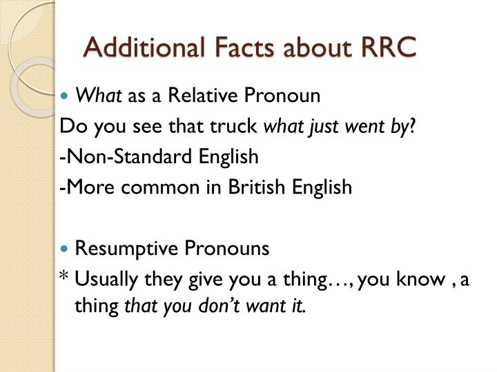 Additional Facts about RRC