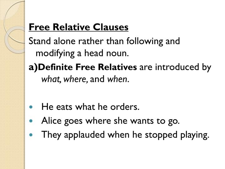 Free Relative Clauses