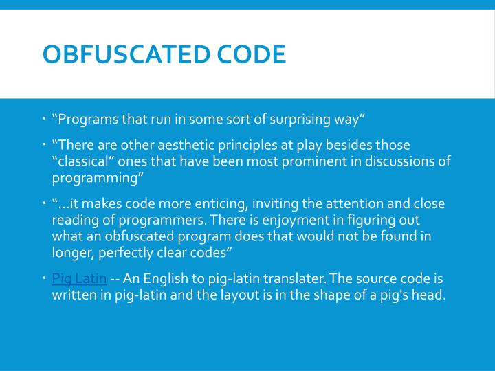 Obfuscated Code