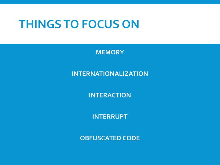 Things to focus on