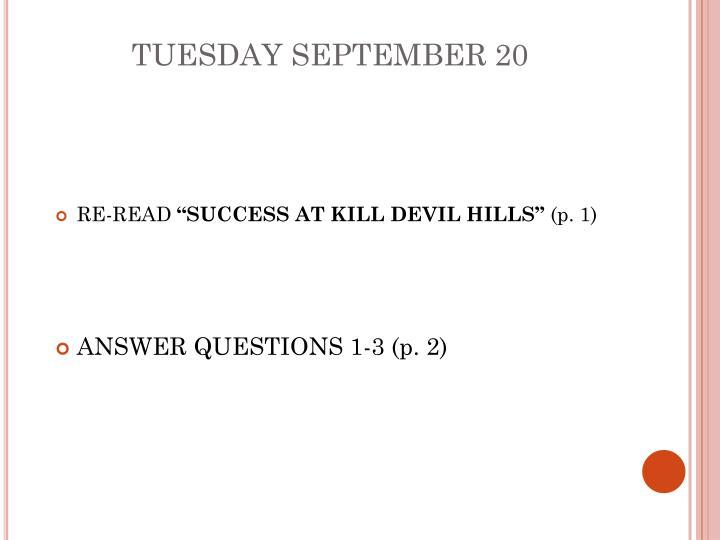 Tuesday september 20