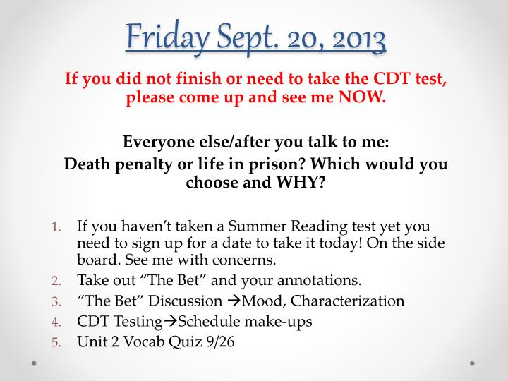 Friday Sept. 20, 2013