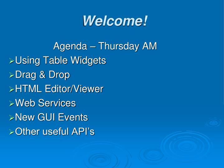 Agenda – Thursday AM