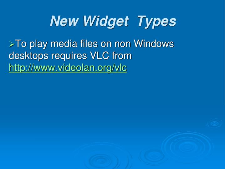 To play media files on non Windows desktops requires VLC from