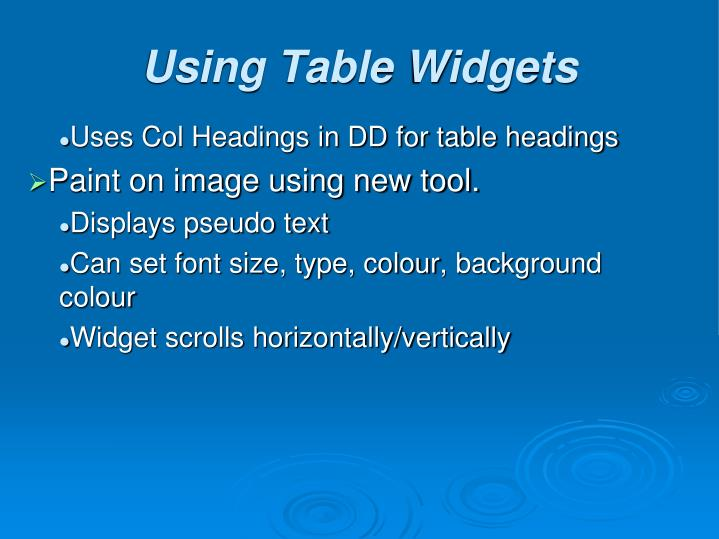 Uses Col Headings in DD for table headings