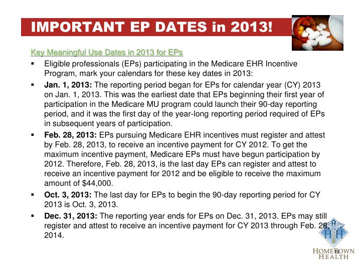 IMPORTANT EP DATES in 2013!