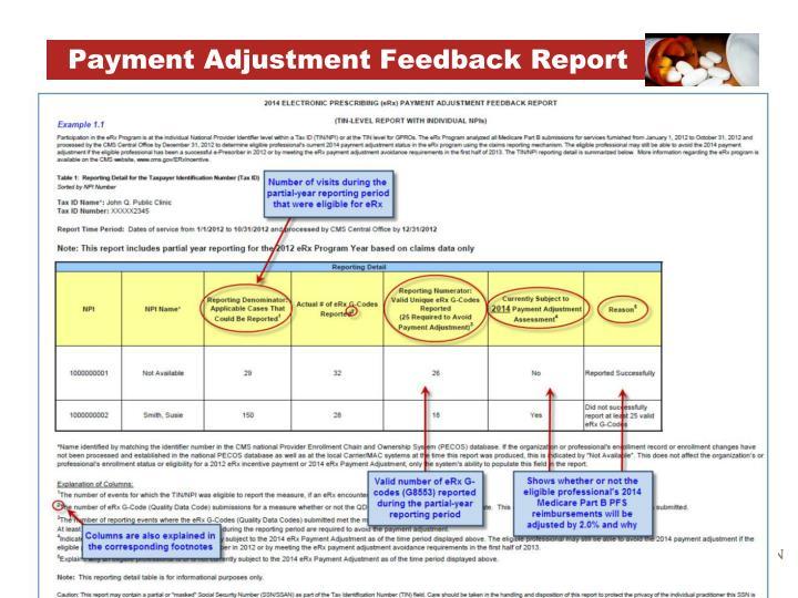 Payment Adjustment Feedback Report