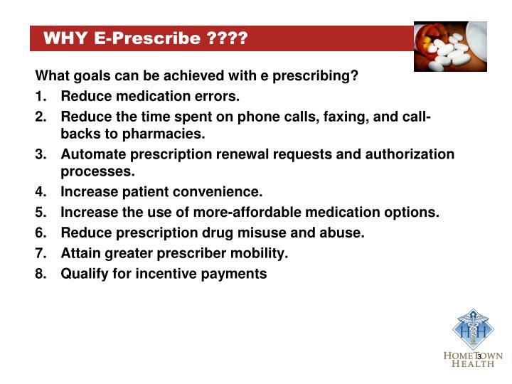 Why e prescribe