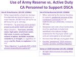 use of army reserve vs active duty ca personnel to support dsca