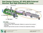rea design choices rt rfq with external buncher and high efficiency sc linac