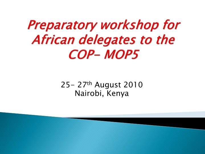 preparatory workshop for african delegates to the cop mop5 n.