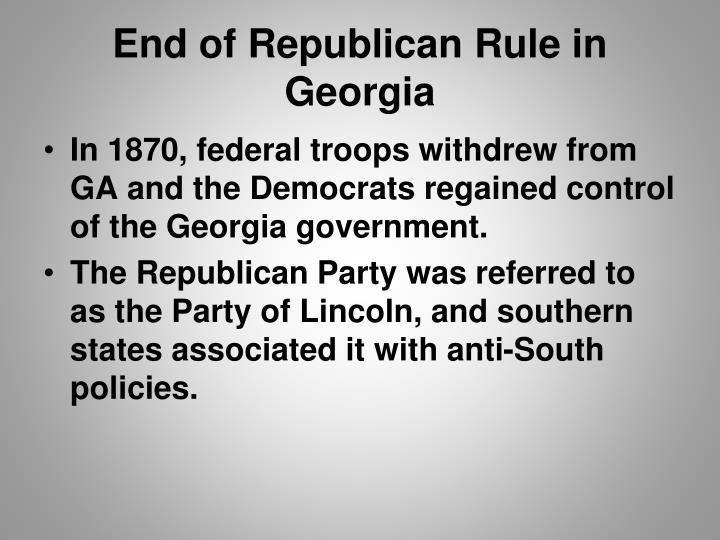 End of republican rule in georgia1
