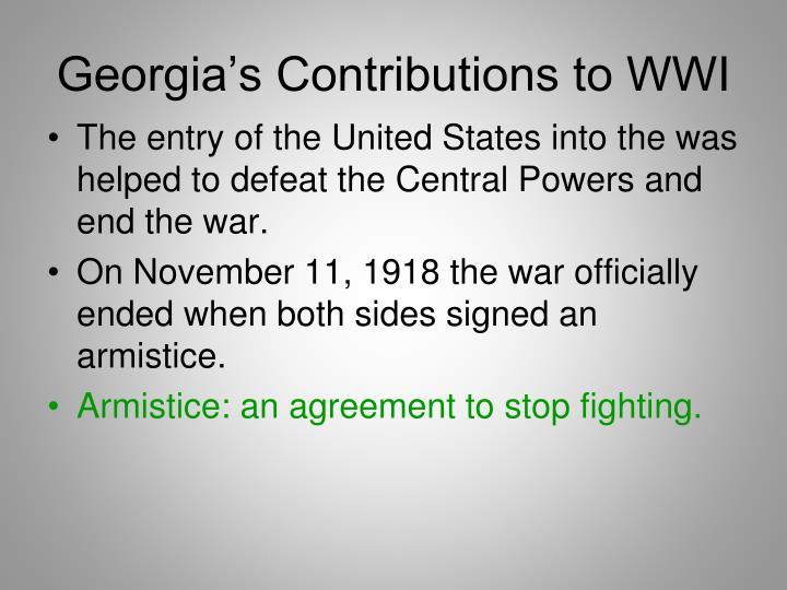 Georgia's Contributions to WWI