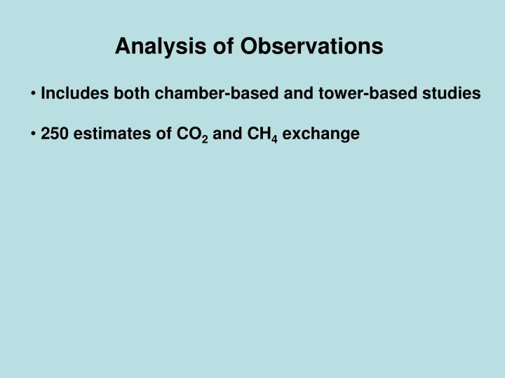 Analysis of Observations