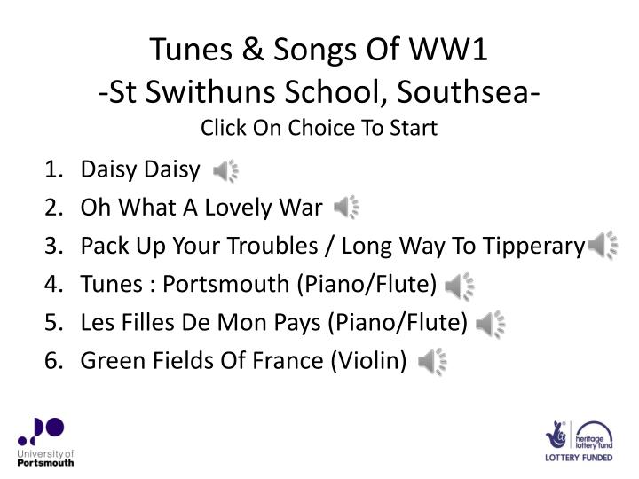 tunes songs of ww1 st swithuns school southsea click on choice to start n.