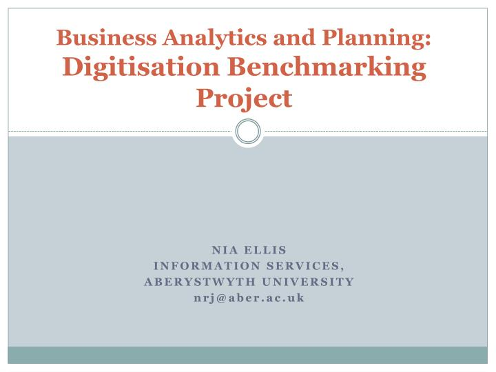 business analytics and planning digitisation benchmarking project n.