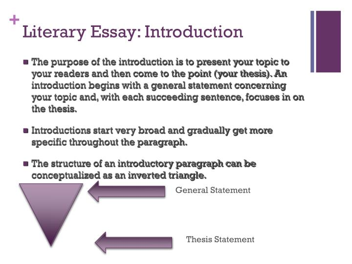 literary essay introduction The introduction of the literary analysis essay outline will set up the whole essay it is where your topic is presented and the particular issues and questions that will be addressed are.