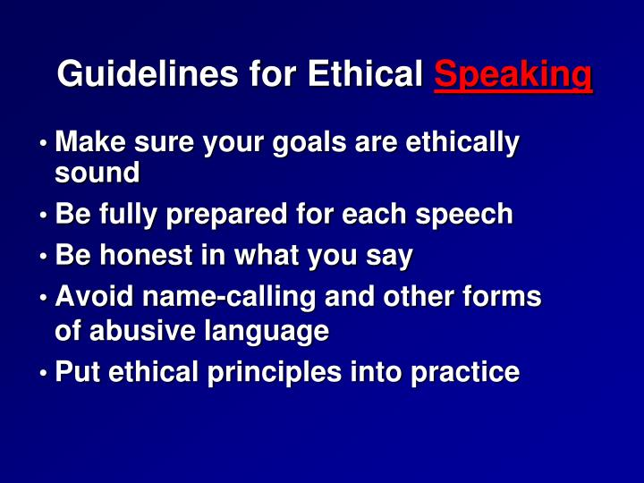 Guidelines for ethical speaking