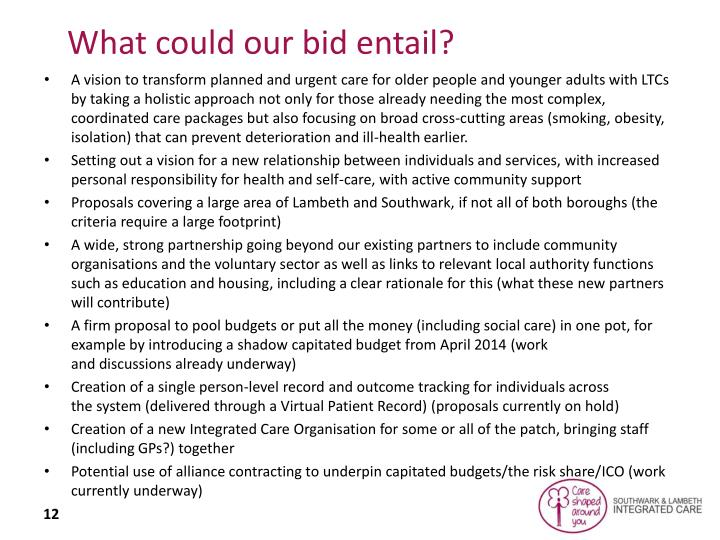 What could our bid entail?
