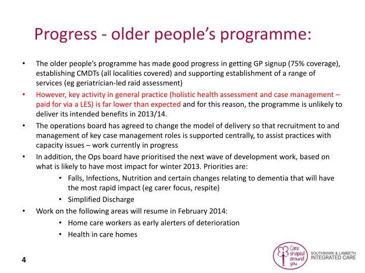 Progress - older people's programme: